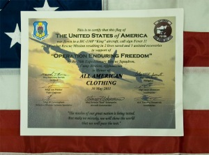Made in USA Flag flown in honor of All American Clothing